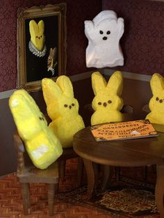 Yes, these peeps are holding a seance from an Oujia board. And a ghost peep has just appeared. Easter Peeps, Happy Easter, Easter Bunny, Samhain, Favorite Holiday, Holiday Fun, Festive, Marshmallow Peeps, Peep Show