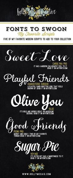 Holly McCaig Creative Fonts to Swoon My Favorite Scripts