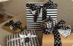 Black and white presents #gift wrapping #christmas @Syyskuun kuudes