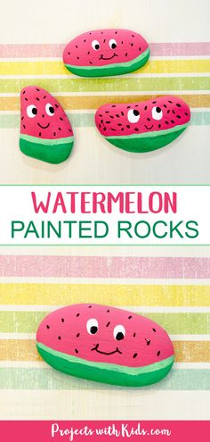 Adorable watermelon painted rocks for kids to make. An easy and fun summer craft that kids will love creating! #projectswithkids #kidsart #rockpainting #kidscrafts #rockart #watermeloncrafts #summercrafts
