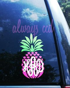 3 Color Perfectly Preppy Monogram Pineapple Decal by aLwAyScCd