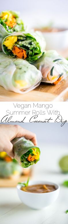 Vegan Spiralized Cucumber Noodles Mango Summer Rolls with Almond Coconut Dip - These summer rolls are made with mango and cucumber noodles, instead of rice noodles, to make them lower carb. Serve them with almond butter and coconut dip for a light and healthy, raw meal! | Foodfaithfitness.com | @FoodFaithFit