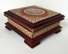 Wooden square box with round stone and mosaic on top with inlaid straw... Lot 7C