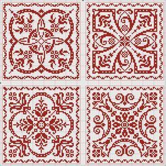Four Tiles Design ~ from the Antique Pattern Library.
