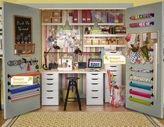 Office in a closet - use all the space you can. Too busy for me but a good example of what you can do with a large closet