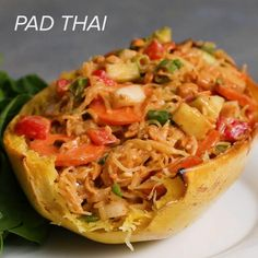 Here's what you need: spaghetti squash, olive oil, salt, pepper, large cucumber, carrot, bell pepper, green onion, onion, fresh cilantro, water, soy sauce, sesame oil, honey, fresh lime juice, sriracha, creamy peanut butter, fresh ginger, garlic, peanuts