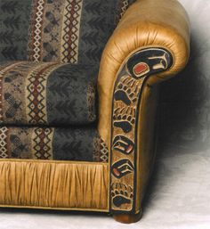 Beautiful Northwest Native Designs Carved Couch
