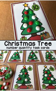 "Printable Christmas Tree Number Quantity Task Cards for preschool, pre-k, and kindergarten. Have students identify the number on each tree and ""decorate"" it with the corresponding number of ""ornaments"". #preschool #prek #kindergarten #christmas #math #numbersense #preschoolplay #centers #prekactivities #numberrecognition #printables #preschoolactivities  #teacherspayteachers"