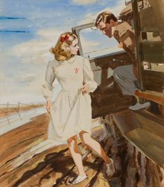 Al Parker (American, 1906-1985) Roadside Chat, watercolor on board 14 x 12 inches