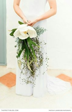 Amazing & Quite Unique Cascading Bridal Bouquet With: White Magnolia, Green Poppy Pods & Several Varieties Of Tropical Foliage~~