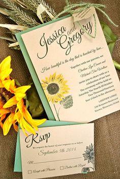 Shiny Sunflower Wedding Invitations ❤ See more: http://www.weddingforward.com/sunflower-wedding-invitations/ #weddings
