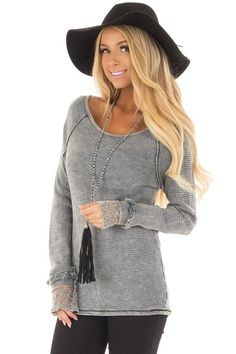 Lime Lush Boutique - Grey Mineral Wash Ribbed Knit Top with Lace Cuffs, $49.99 (https://www.limelush.com/grey-mineral-wash-ribbed-knit-top-with-lace-cuffs/)