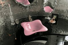 Add a splash of color to your vanity with this pink Kohler sink - also comes in blue and orange. Find this sink and bathroom color ideas here: http://www.pottymouthtours.com/bathroom-colors-bring-bathroom-life/