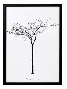 Bloomingville Lijst met poster 'Tree' hout zwart/wit 26x36x1cm