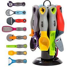 Kitchen Gadgets Tools Set Pizza Cutter Apple Corer Vegetable Peeler Multifunctional Bottle Opener Cheese Slicer Grater Scoop Slicer with Rotating Stand Cool Kitchen Gadgets, Home Gadgets, Cooking Gadgets, Gadgets And Gizmos, Cooking Tools, Kitchen Items, Kitchen Utensils, Kitchen Tools, Cool Kitchens