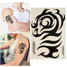 Black Totem Tattoo Stickers Waterproof Temporary Removable Arm Leg Transfer Tattoos
