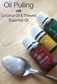 Clear you mouth of harmful bacteria by oil pulling with coconut oil and thieves essential oil!
