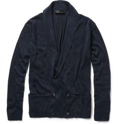 Double-breasted silk cardigan. This defines m.