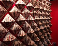 Wall of folded magazines