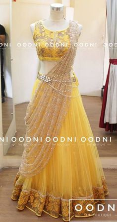 For hurdee night...Indian fashion. Yellow lehenga choli