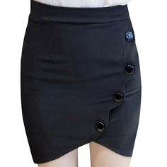 3e481c0a5085e Aliexpress.com   Buy New Plus Size 5XL Saia Elastic High Waist Women s Skirt  2017 Formal Slit Mini Pencil Skirts Buttons Jupe Crayon Black Red C386 from  ...