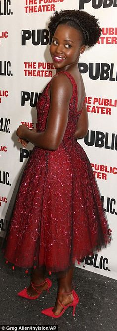 Pop of color: The Star Wars actress wore matching red heels and pink lipstick