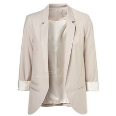 OL Style Lapel Open Front Long Sleeve Solid Color Blazer For Women ❤ liked on Polyvore featuring outerwear, jackets, blazers, tops, veste, long sleeve blazer, blazer jacket, lapel jacket, pink blazer jacket and pink jacket