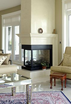 Image result for three way fireplace ideas