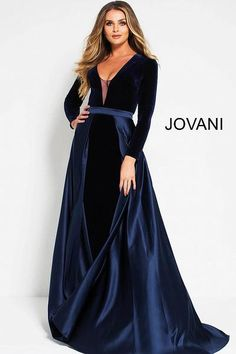 Jovani Navy Velvet and Satin Long Sleeve Plunging Neck Evening Dress 51510 - New Ideas Long Sleeve Evening Dresses, Long Sleeve Short Dress, Formal Evening Dresses, Evening Gowns, Short Dresses, Jovani Dresses, Satin Dresses, Prom Dresses, Wedding Dresses