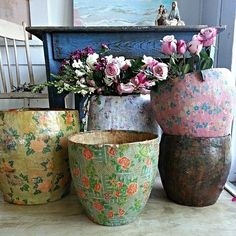 Vintage Paper Mache Buckets - via Simply me: Hello...... its been a little while..