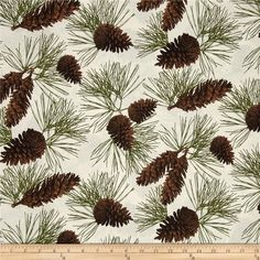 Rustic Refined Pinecones Natural from @fabricdotcom  From Hoffman Fabrics, this rustic fabric is perfect for quilting, apparel and home décor accents. Colors include shades of brown, green and natural.