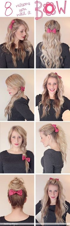 8 Ways to Use a Bow, i've pinned before but i love it and i've done a few of these and love the look. bows are just my thing... have been for about 4 years now!! The collection i have comes in handy for this picture