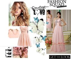 """""""Baby Pink Prom / Pageant Dress For Custom Made Empire Asymmertrical Chiffon Beading Floor-length"""" by fancydressesforyou ❤ liked on Polyvore"""