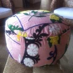 Pottery Barn Authentic Vintage FOUND SUZANI FLOOR TUFFET POUF  23x16 NEW TAGS:  Total purchase price: $213; kinda high but when I saw this pouf,my colors became clear