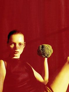 """"""" china syndrome, kate moss by wolfgang tillmans for vogue us february 1997 """" kate and broccoli, I approve. Kate Moss, Wolfgang Tillman, Portrait Photography, Fashion Photography, Thanksgiving Fashion, The Frankenstein, Acid House, The Blonde Salad, Vogue Us"""