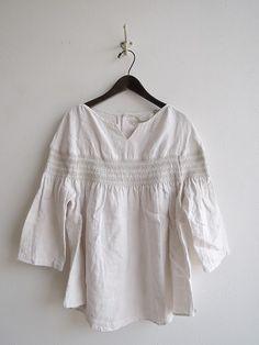 2017SS/美品/リゼッタ Lisette フラビア スモッキング刺繍リネンシャツ