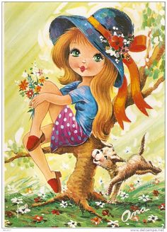 Big Eyed Girl Vintage Postcard ~ by Ona
