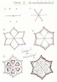 How to draw arabic style star in henna pattern ornament. How to draw arabic st Zen Doodle Patterns, Henna Patterns, Zentangle Patterns, Zentangles, Mandalas Painting, Mandalas Drawing, Mandala Art, Henna Tutorial, Indian Henna Designs