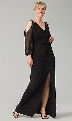 Shop long black MOB dresses with long sleeves at Kleinfeld Bridal Party. Cold-shoulder formal mother-of-the-bride dresses and long mother-of-the-groom dresses with slits, knotted waists, and beads. Mob Dresses, Girls Dresses, Flower Girl Dresses, Bridesmaid Dresses, Dresses With Sleeves, Formal Dresses, Bride Dresses, Formal Dance, Bride Groom Dress