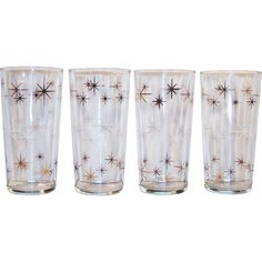 Atomic Gold & White Star Burst Drinking Glass Tumblers (Set of 4) from ruthsredemptions on Ruby Lane