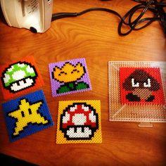 Super Mario coasters perler beads by l33n4tron