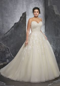 3238 Kasmira Plus Size Wedding Dress Princess Perfect, This Beautiful Tulle Ball Gown Features a Crystallized Beaded Sweetheart Bodice with Embroidered Appliqués. A Corset Style Back Completes the Look. Boho Wedding Dress With Sleeves, Plus Size Wedding Gowns, Princess Wedding Dresses, Bridal Wedding Dresses, Wedding Dress Styles, Dream Wedding Dresses, Designer Wedding Dresses, Prom Dresses, Tulle Wedding