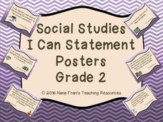 These are full page posters for I Can Statements for Grade 2 Social Studies. The standards are those for the Saskatchewan curriculum.Posters are full page. Teachers can laminate them to make them more durable for use year after year.If you would full page posters or if you would like a different background, simply contact me.The I Can Statement posters for all Grade 2 subjects are available from Nana Fran's Teaching Resources.Follow my store to be notified when new products are added.