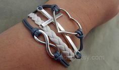 Love bracelet  gray wax rope weaving ancient silver by Jiadan, $9.99