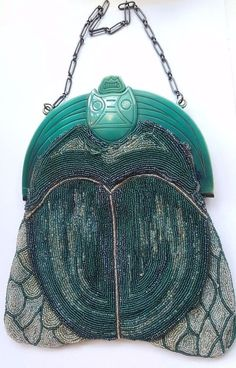 Art Deco Egyptian revival scarab beetle beaded bag. Great antique beaded bag, love the way the handle and beaded base form a beetle. It still stays shut. | eBay!