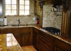 Subway Tile Backsplash With Granite Countertops