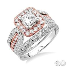 2 3/8 Ctw Diamond Wedding Set with 2 Ctw Princess Cut Engagement Ring and 1/2 Ctw Wedding Band in 14K White and Pink Gold