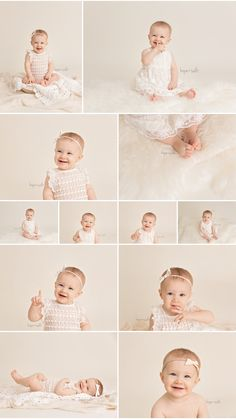 A natural, pure one year first birthday studio session with all creams and neutrals for baby girl Isla by Burlington Photographer Hope + Salt Photography