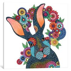 "Bungalow Rose Mr. Rabbit Graphic Art on Wrapped Canvas Size: 18"" H x 18"" W x 1.5"" D"