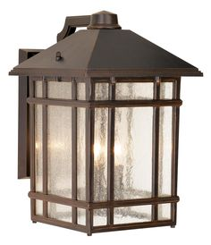 "Outside the front door, on either side of the garage. J du J Sierra Craftsman 15"" High Outdoor Wall Light -"